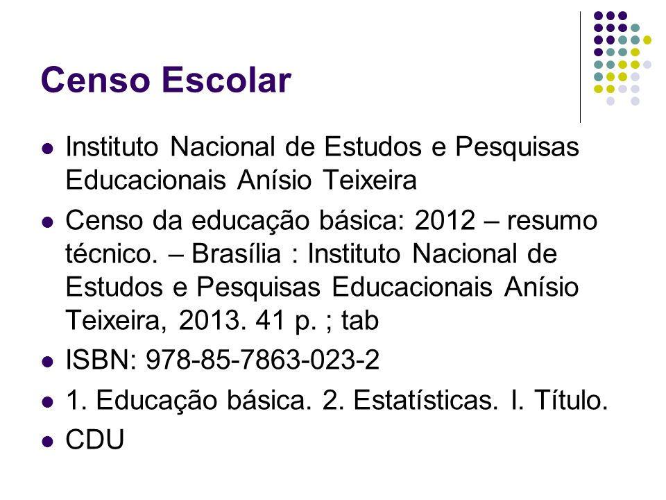 Censo Escolar Instituto Nacional de Estudos e Pesquisas Educacionais Anísio Teixeira.