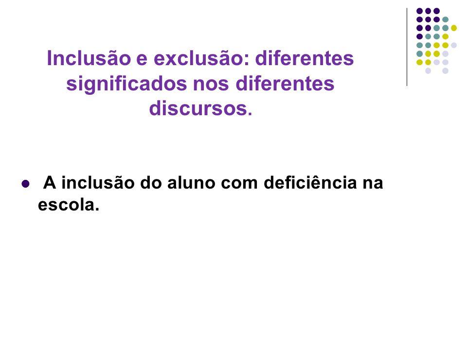 Inclusão e exclusão: diferentes significados nos diferentes discursos.