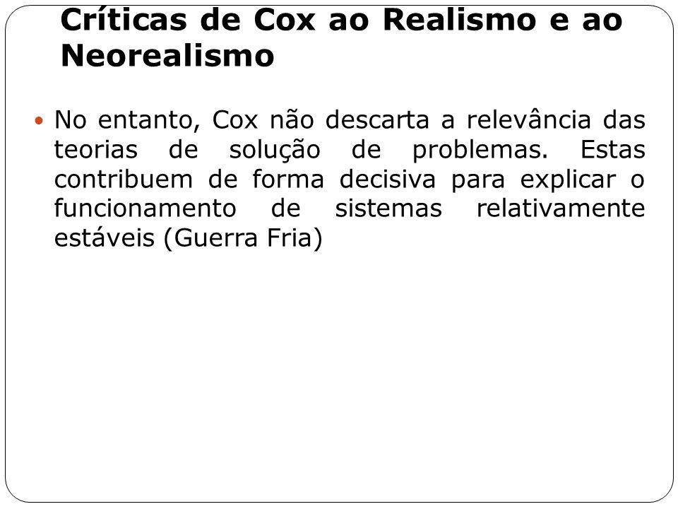 Críticas de Cox ao Realismo e ao Neorealismo