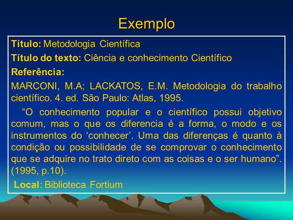 Exemplo Título: Metodologia Científica