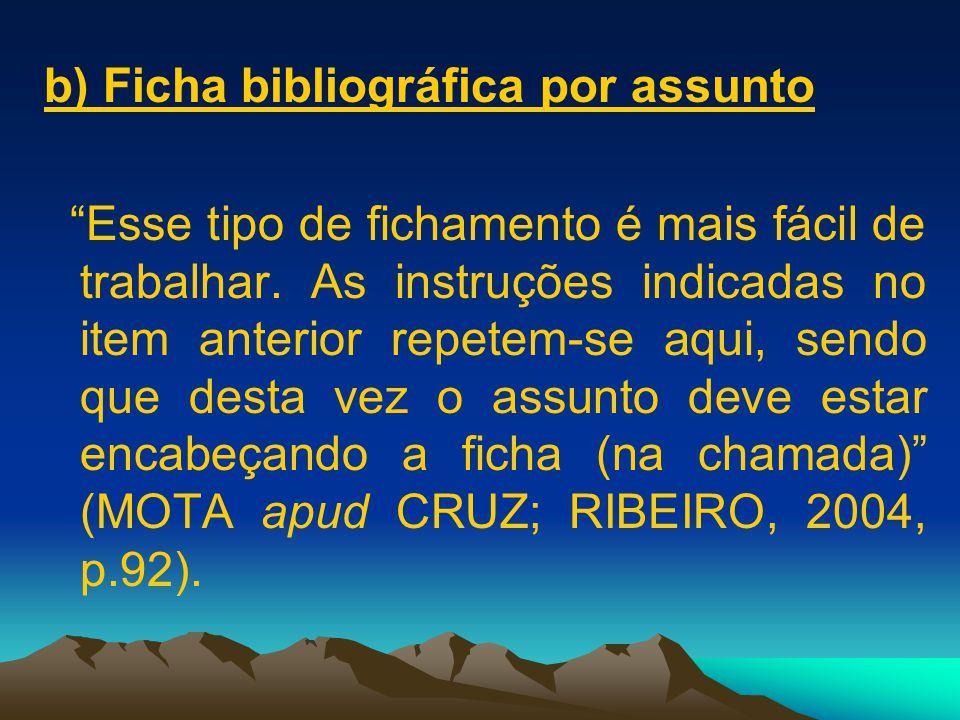 b) Ficha bibliográfica por assunto