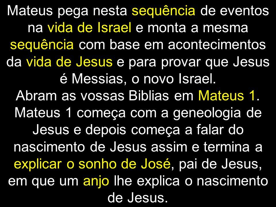 Mateus pega nesta sequência de eventos na vida de Israel e monta a mesma sequência com base em acontecimentos da vida de Jesus e para provar que Jesus é Messias, o novo Israel.