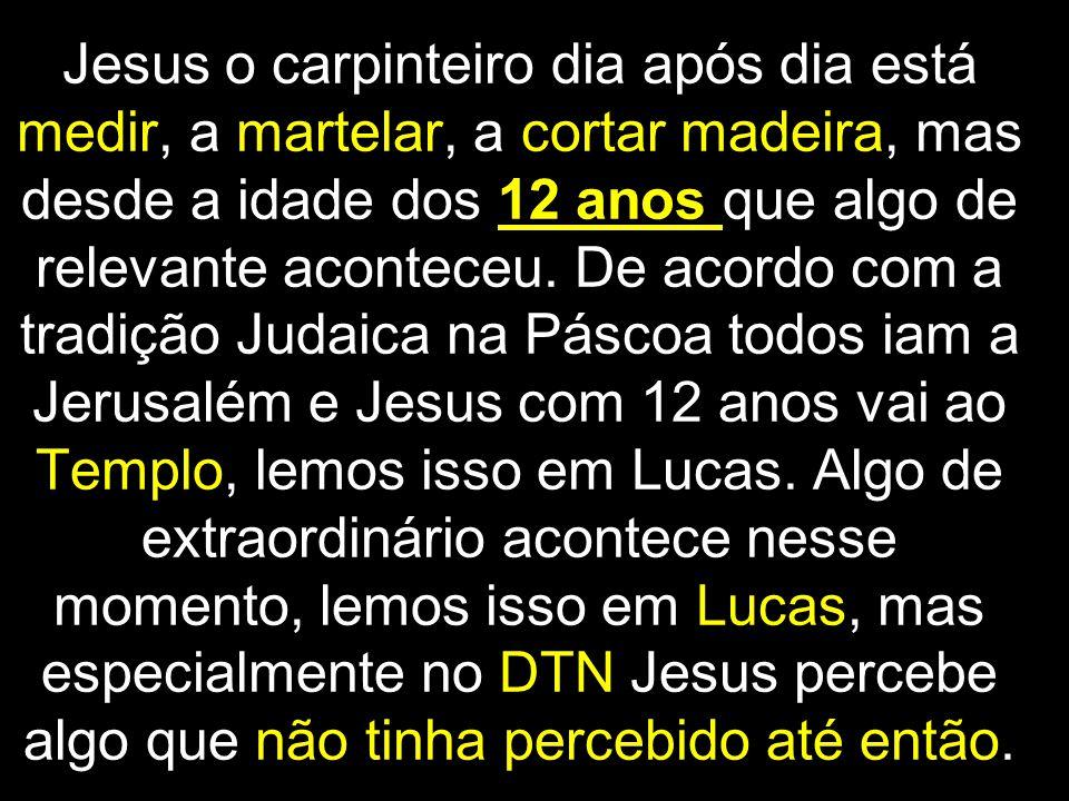 Jesus o carpinteiro dia após dia está medir, a martelar, a cortar madeira, mas desde a idade dos 12 anos que algo de relevante aconteceu.