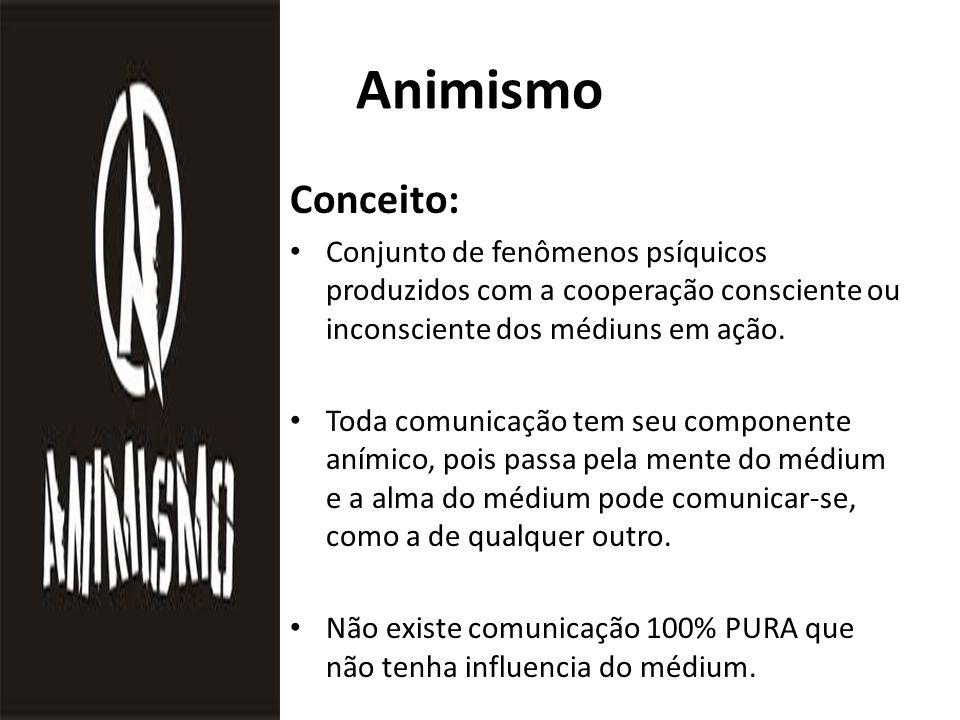Animismo Conceito: Conjunto de fenômenos psíquicos produzidos com a cooperação consciente ou inconsciente dos médiuns em ação.