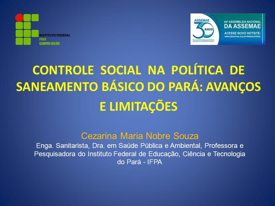 CONTROLE SOCIAL NA POLÍTICA DE SANEAMENTO BÁSICO DO PARÁ: AVANÇOS