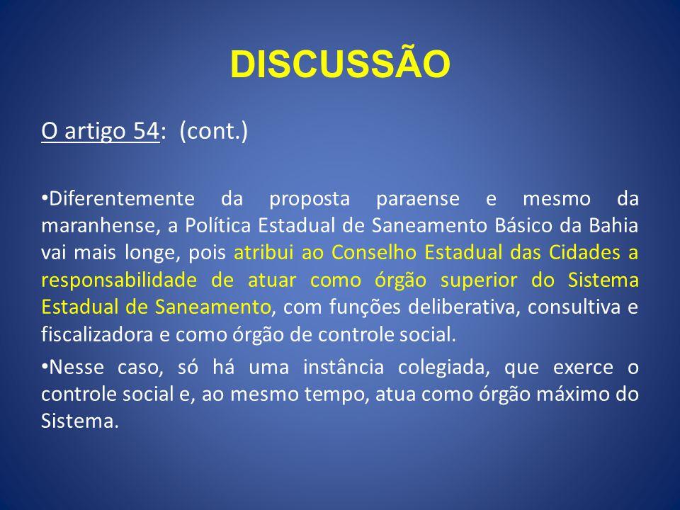 DISCUSSÃO O artigo 54: (cont.)