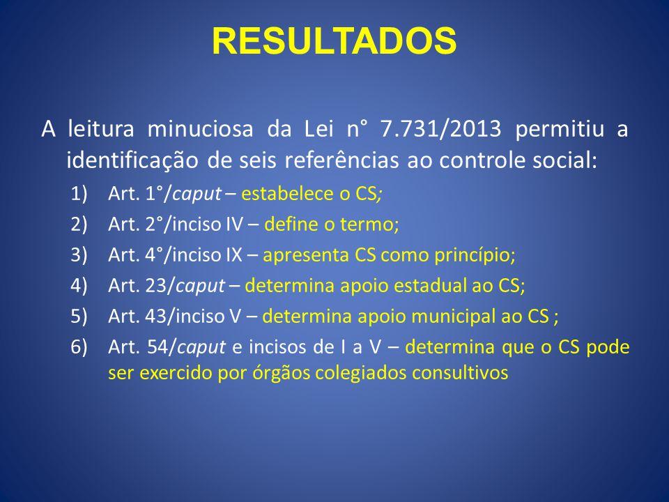 RESULTADOS A leitura minuciosa da Lei n° 7.731/2013 permitiu a identificação de seis referências ao controle social: