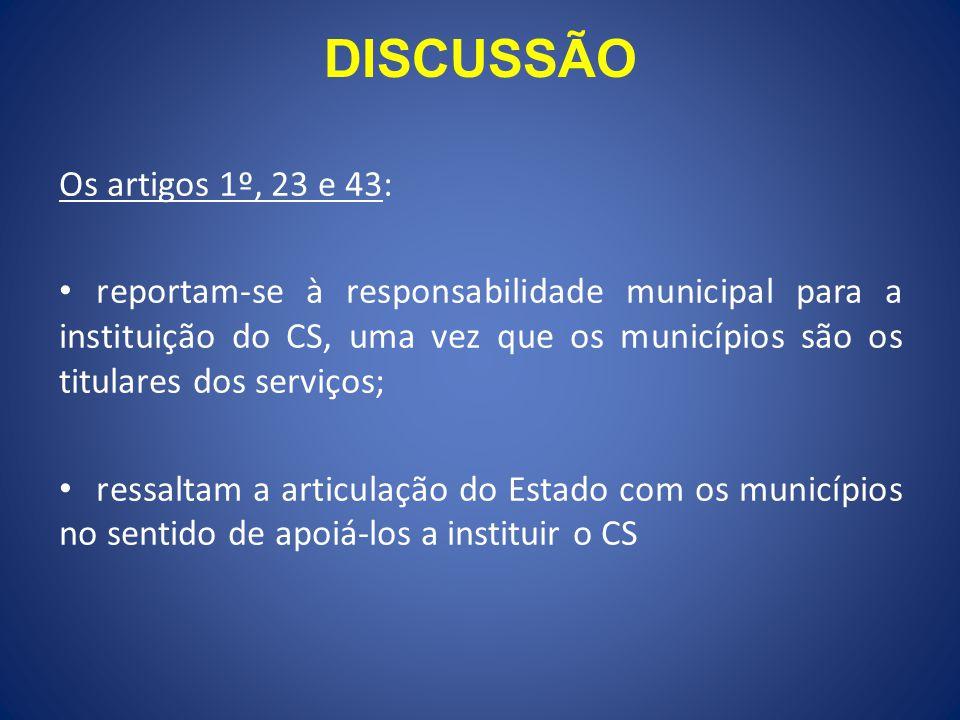DISCUSSÃO Os artigos 1º, 23 e 43: