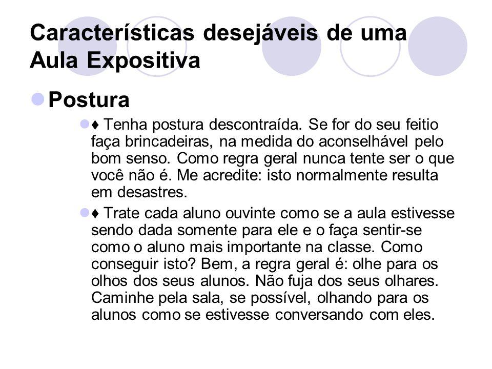 Características desejáveis de uma Aula Expositiva