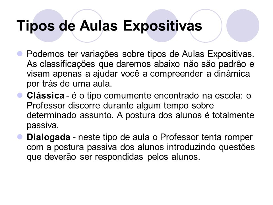 Tipos de Aulas Expositivas