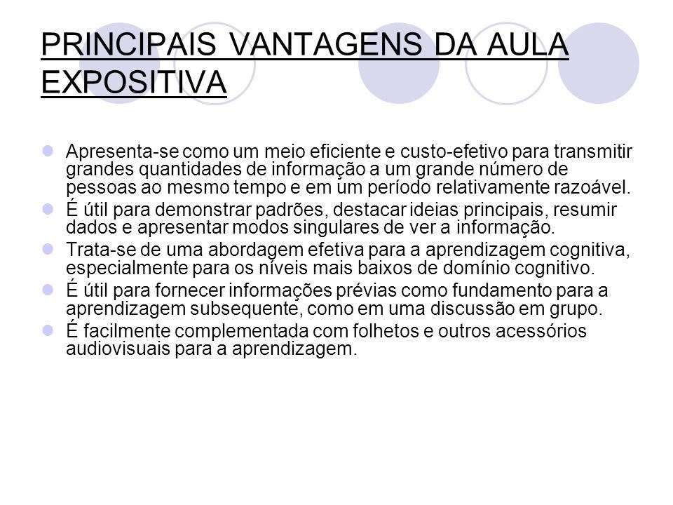 PRINCIPAIS VANTAGENS DA AULA EXPOSITIVA