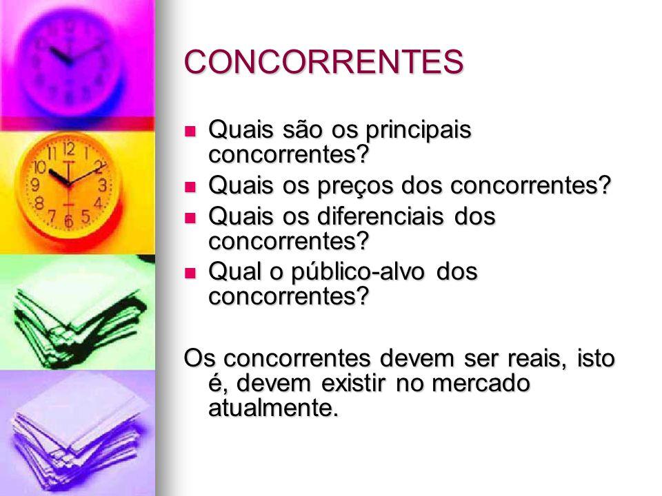 CONCORRENTES Quais são os principais concorrentes