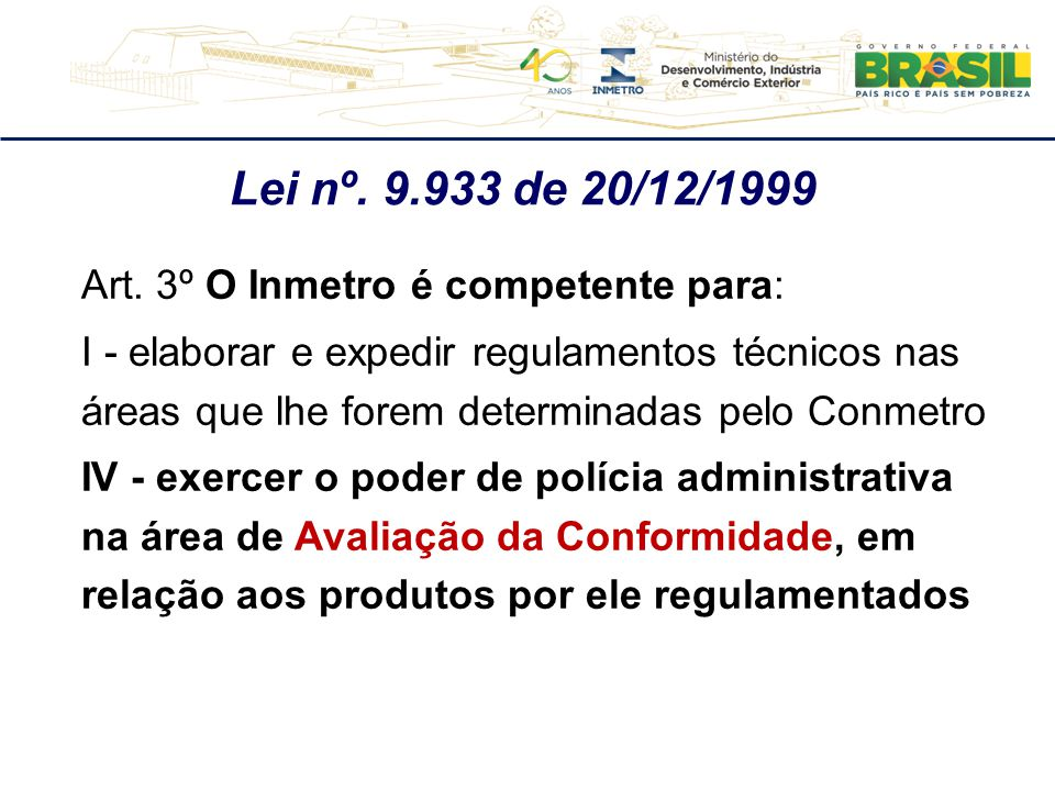 Lei nº. 9.933 de 20/12/1999 Art. 3º O Inmetro é competente para:
