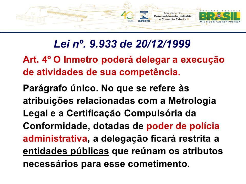 Lei nº. 9.933 de 20/12/1999 Art. 4º O Inmetro poderá delegar a execução de atividades de sua competência.