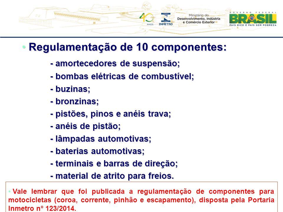 Regulamentação de 10 componentes: - amortecedores de suspensão;