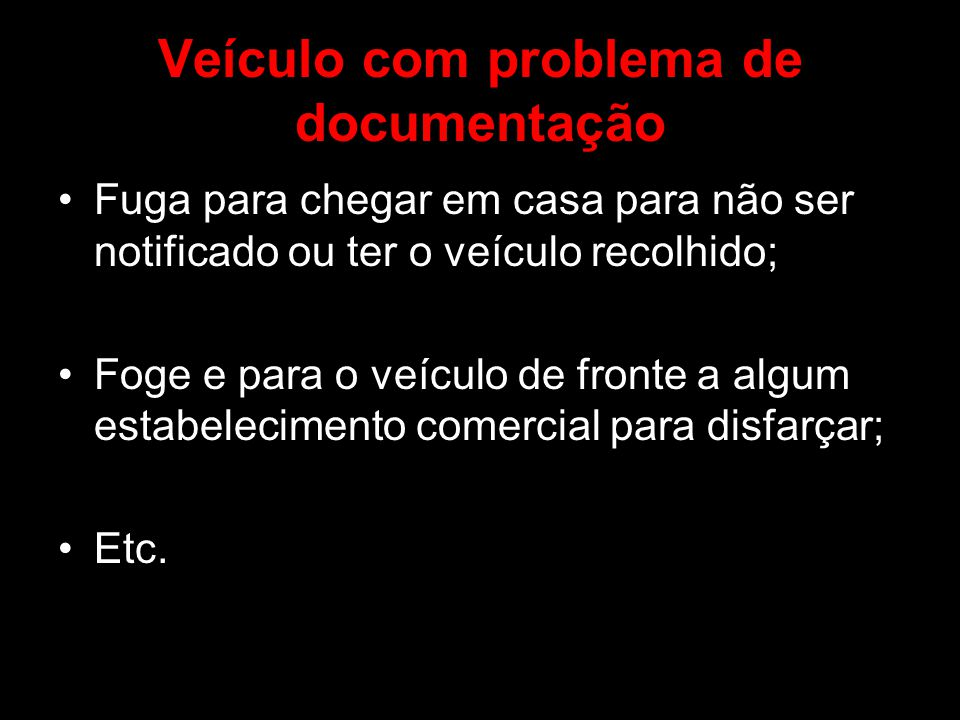 Veículo com problema de documentação