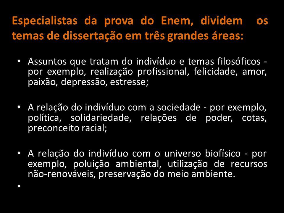 Especialistas da prova do Enem, dividem os temas de dissertação em três grandes áreas: