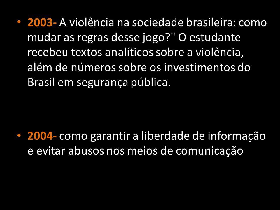 2003- A violência na sociedade brasileira: como mudar as regras desse jogo O estudante recebeu textos analíticos sobre a violência, além de números sobre os investimentos do Brasil em segurança pública.