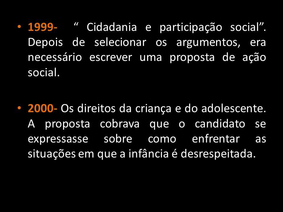 1999- Cidadania e participação social