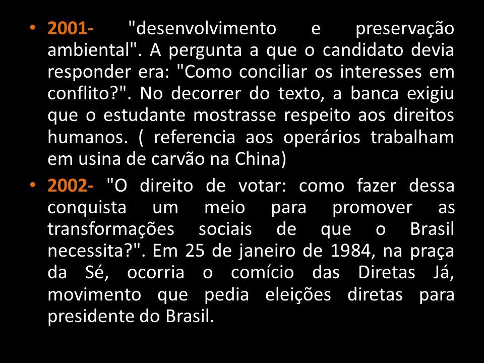 2001- desenvolvimento e preservação ambiental
