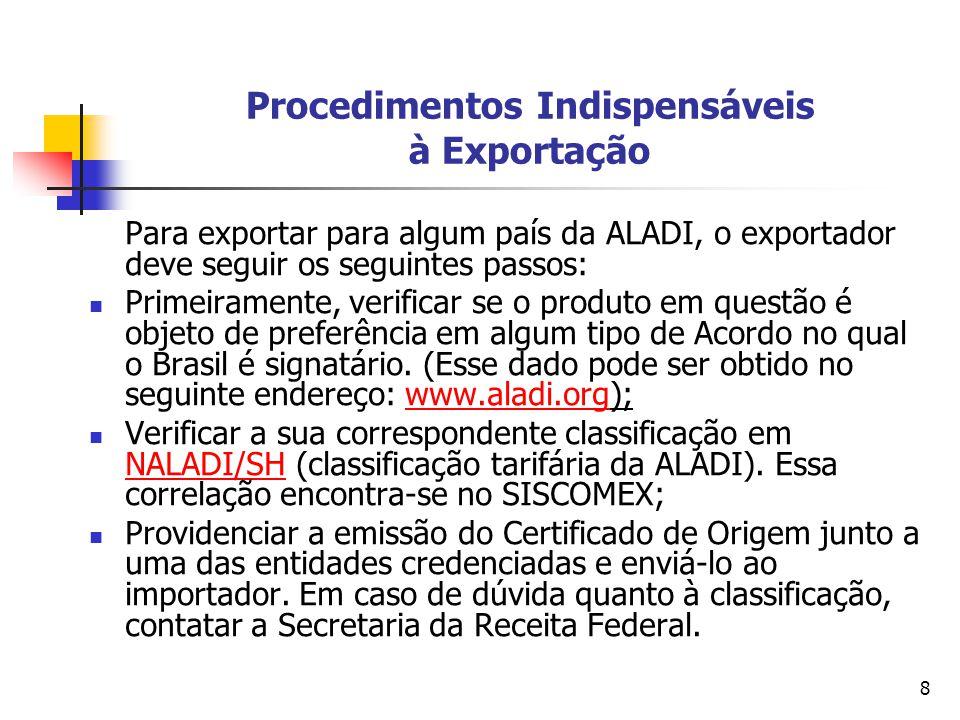 Procedimentos Indispensáveis à Exportação
