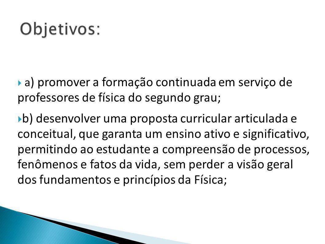 Objetivos: a) promover a formação continuada em serviço de professores de física do segundo grau;
