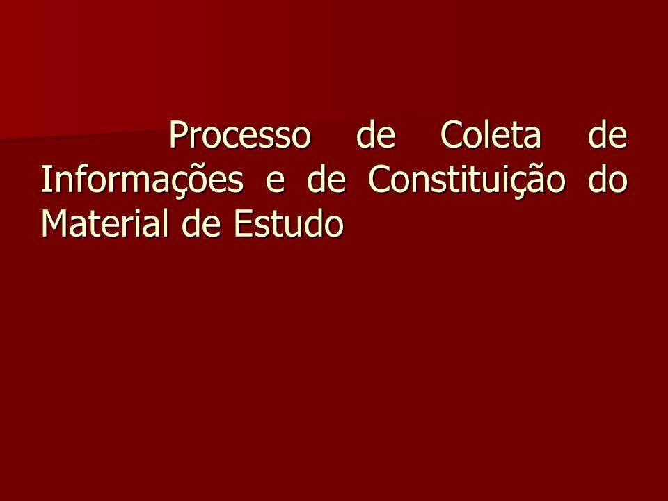 Processo de Coleta de Informações e de Constituição do Material de Estudo