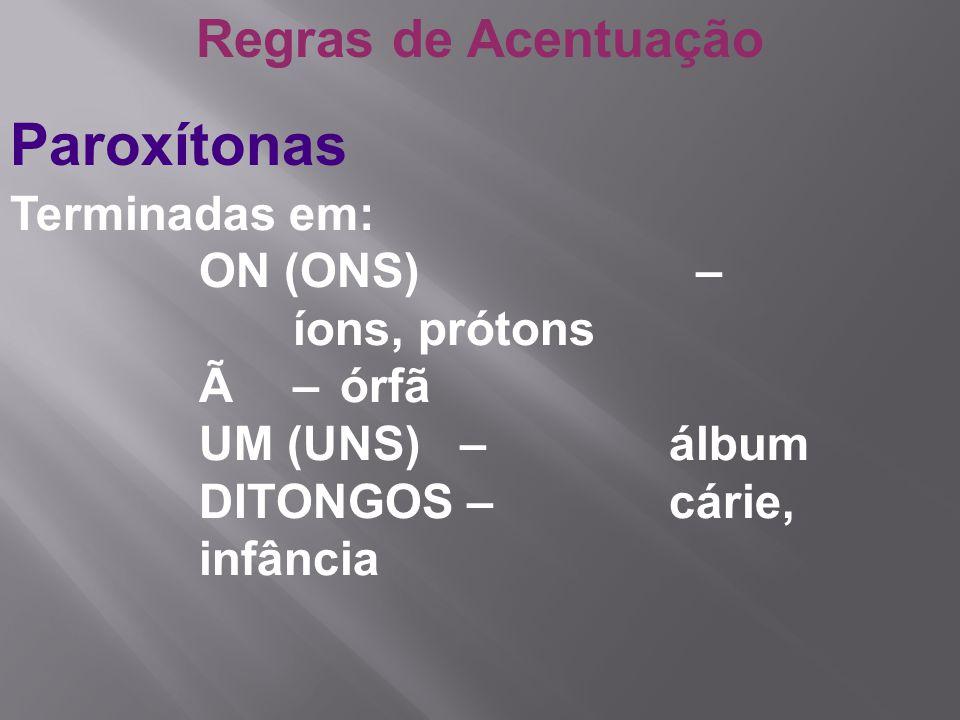 Paroxítonas Regras de Acentuação Terminadas em: