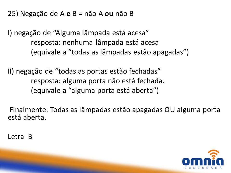 25) Negação de A e B = não A ou não B