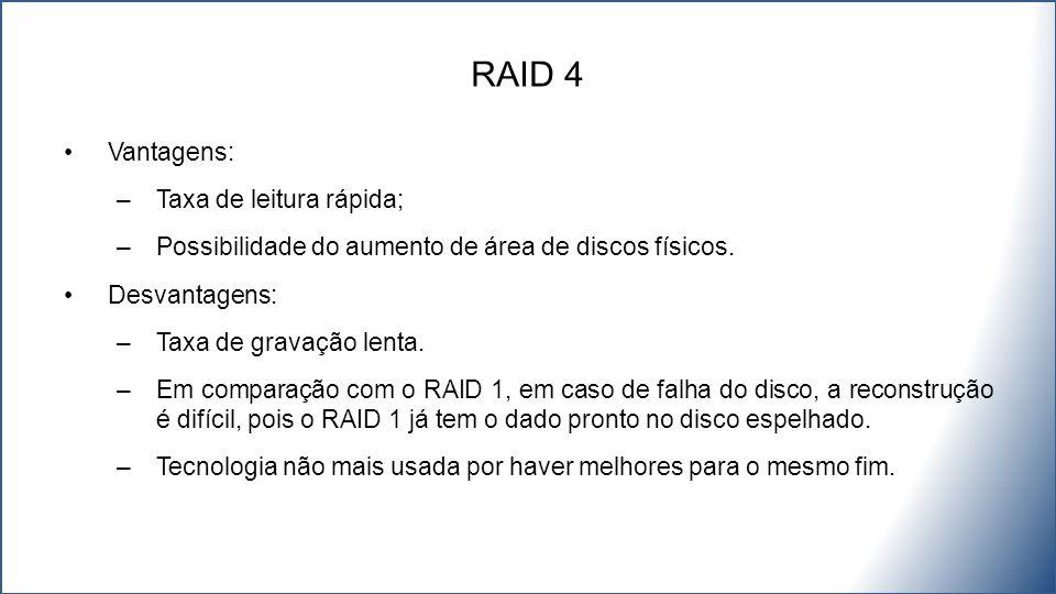 RAID 4 Vantagens: Taxa de leitura rápida;