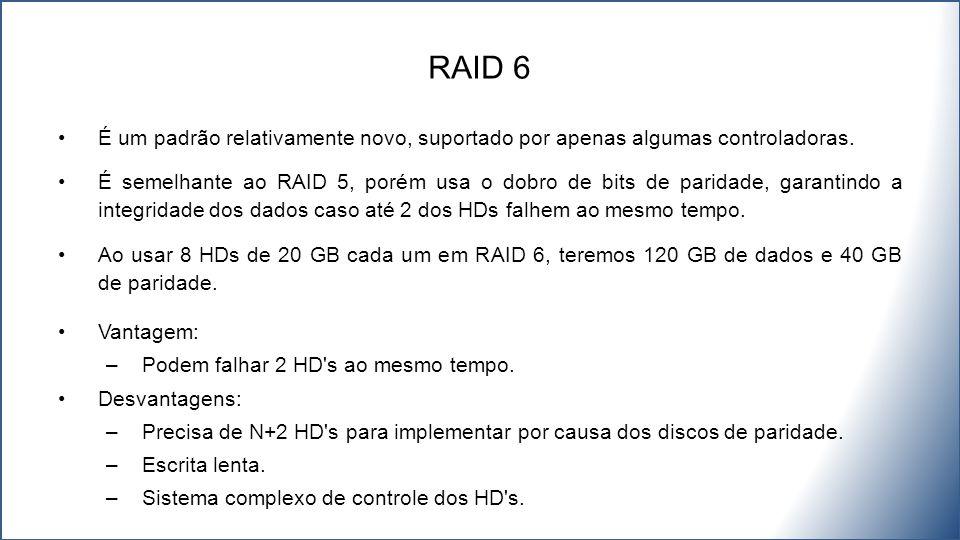 RAID 6 É um padrão relativamente novo, suportado por apenas algumas controladoras.