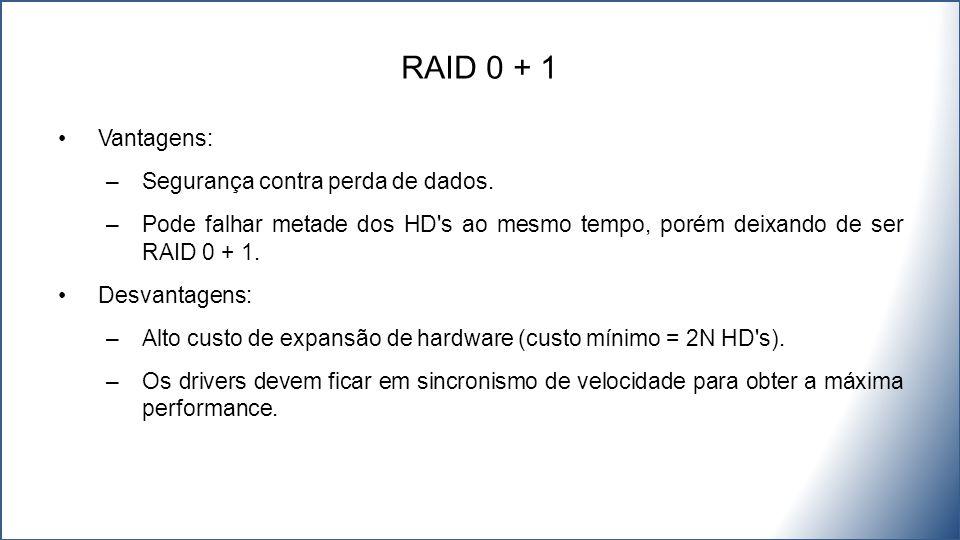 RAID 0 + 1 Vantagens: Segurança contra perda de dados.