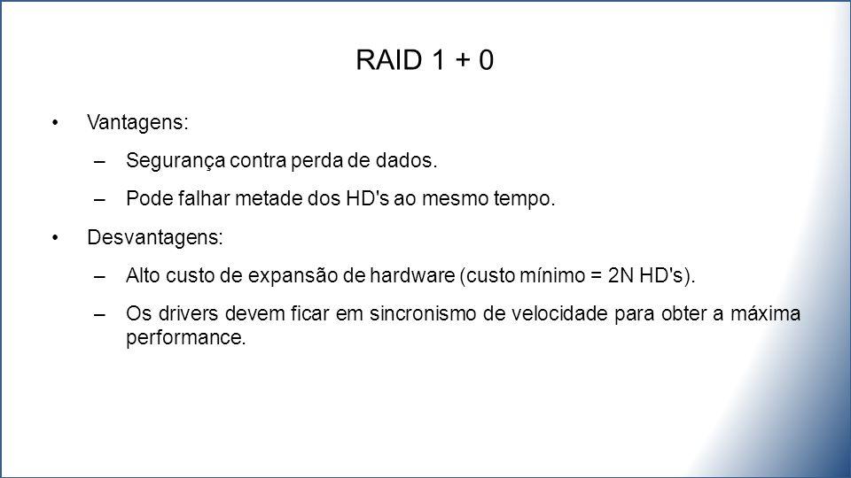 RAID 1 + 0 Vantagens: Segurança contra perda de dados.