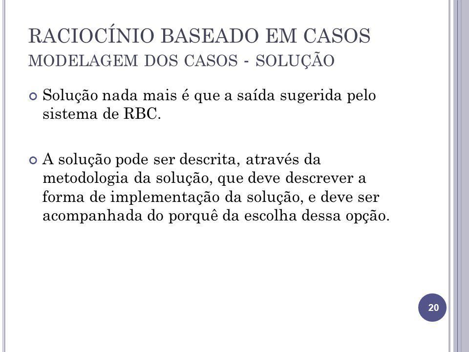 RACIOCÍNIO BASEADO EM CASOS modelagem dos casos - solução