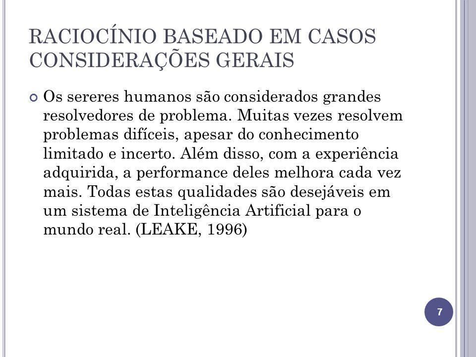 RACIOCÍNIO BASEADO EM CASOS CONSIDERAÇÕES GERAIS