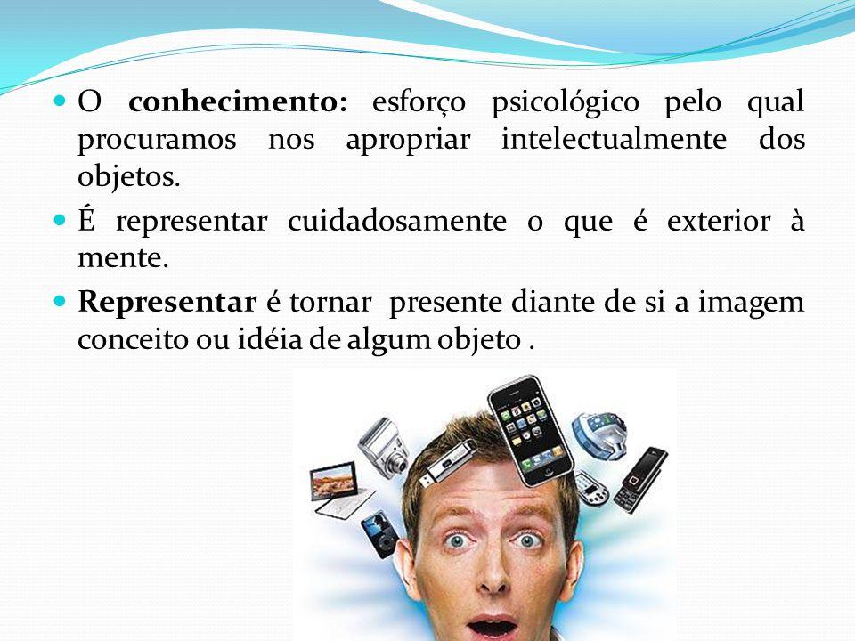 O conhecimento: esforço psicológico pelo qual procuramos nos apropriar intelectualmente dos objetos.