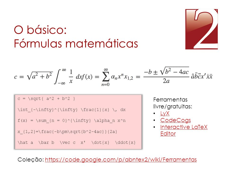 O básico: Fórmulas matemáticas