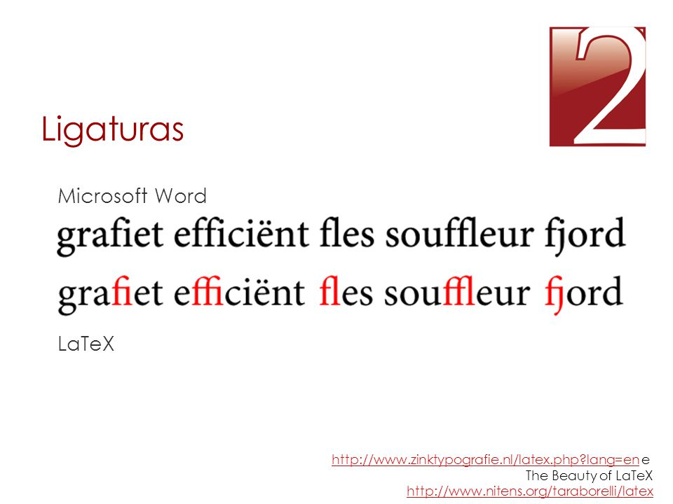 Ligaturas Microsoft Word LaTeX