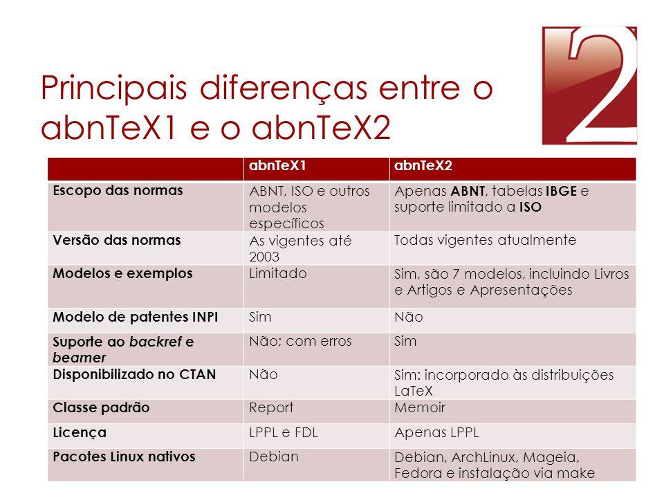 Principais diferenças entre o abnTeX1 e o abnTeX2