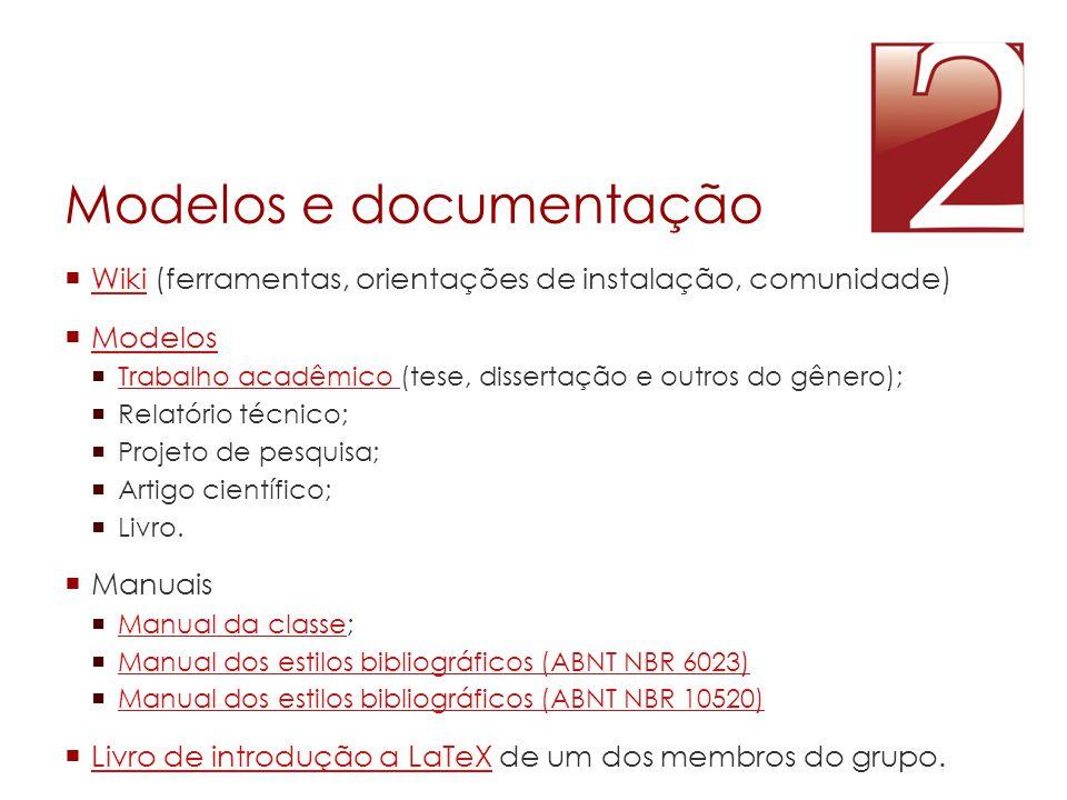 Modelos e documentação