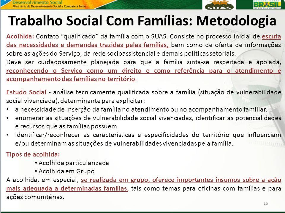Trabalho Social Com Famílias: Metodologia