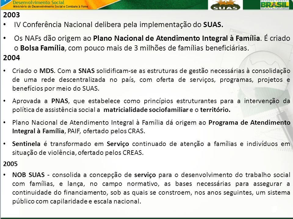 IV Conferência Nacional delibera pela implementação do SUAS.
