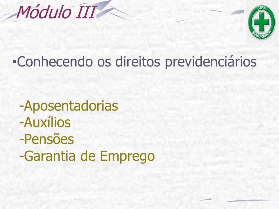 Módulo III Conhecendo os direitos previdenciários -Aposentadorias
