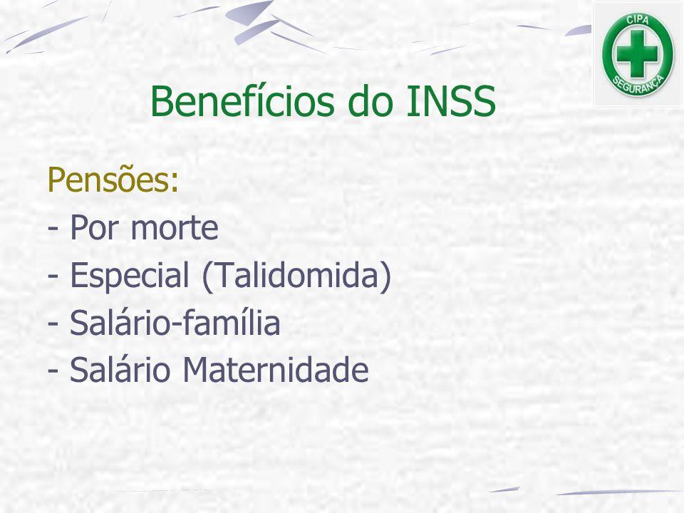 Benefícios do INSS Pensões: - Por morte - Especial (Talidomida)