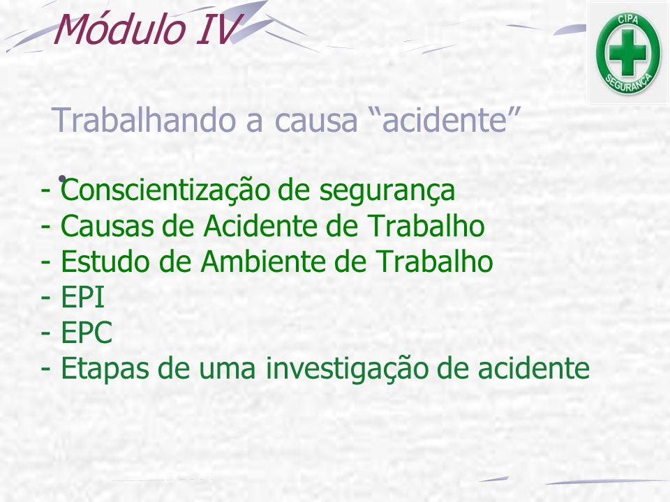 Módulo IV Trabalhando a causa acidente