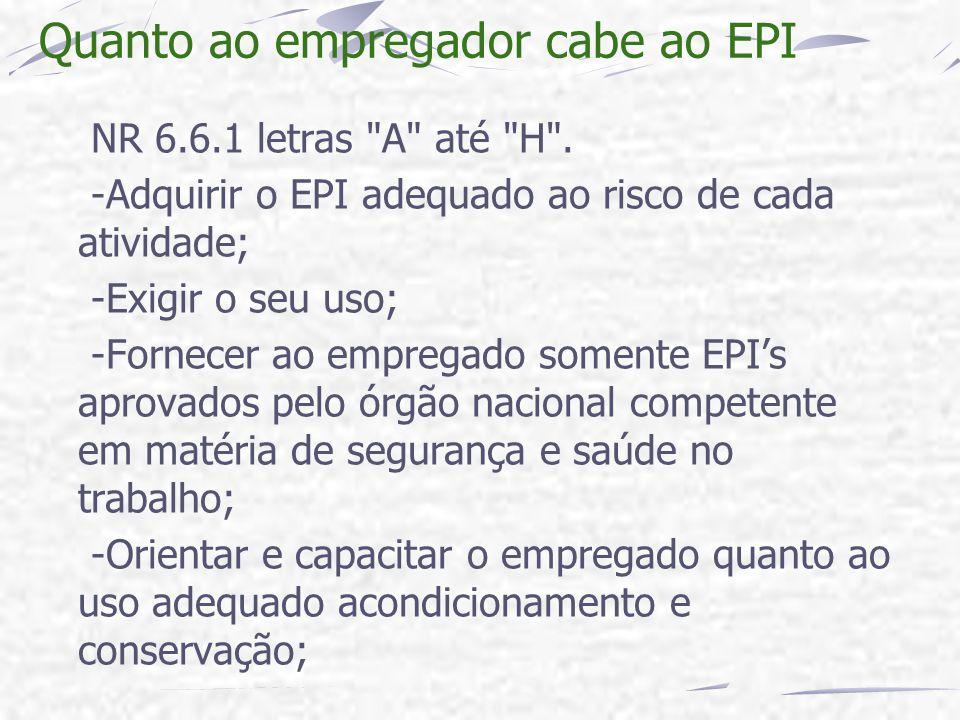 Quanto ao empregador cabe ao EPI