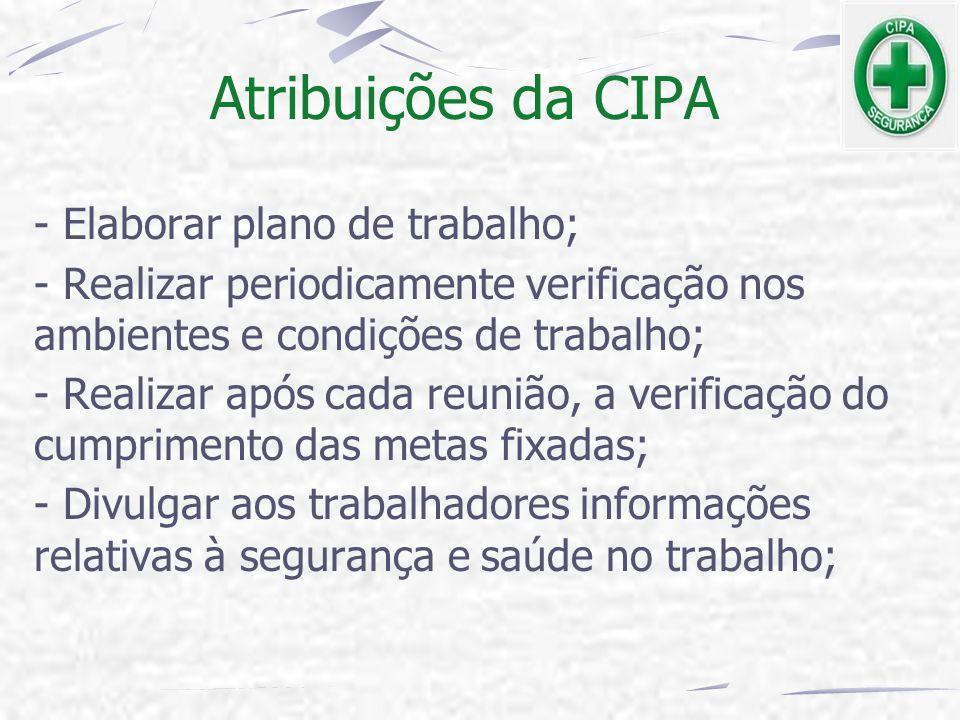 Atribuições da CIPA - Elaborar plano de trabalho;