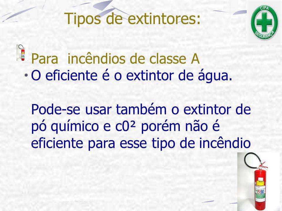 Tipos de extintores: Para incêndios de classe A
