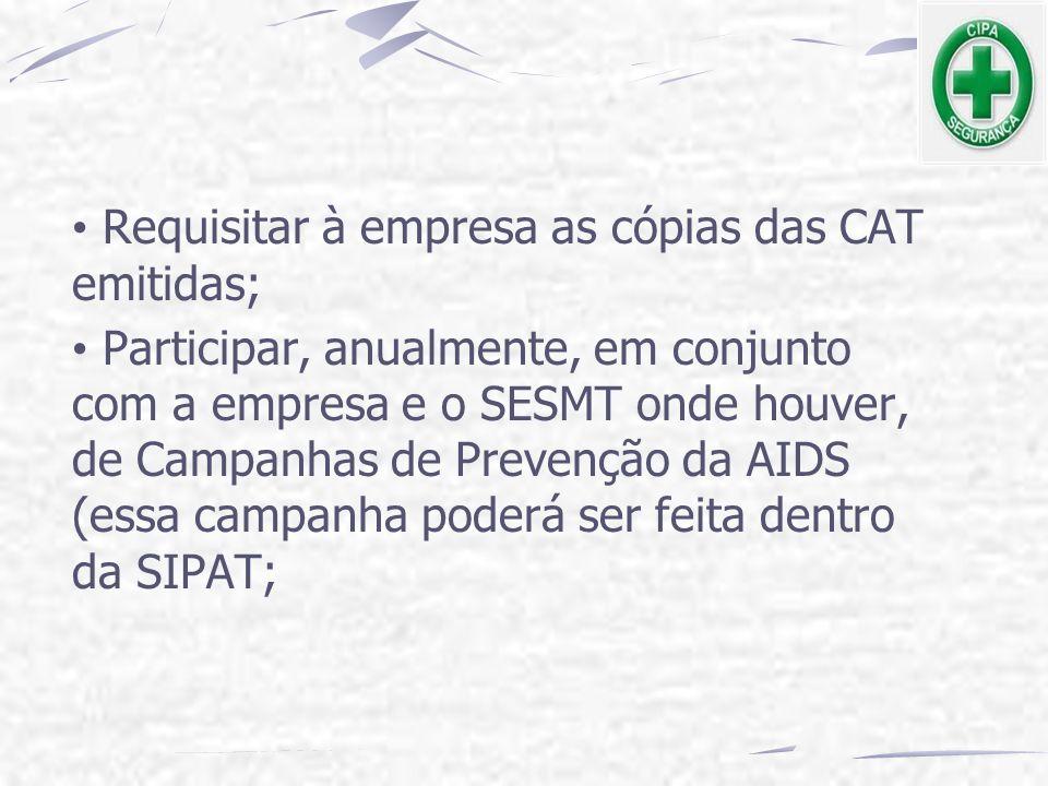 Requisitar à empresa as cópias das CAT emitidas;