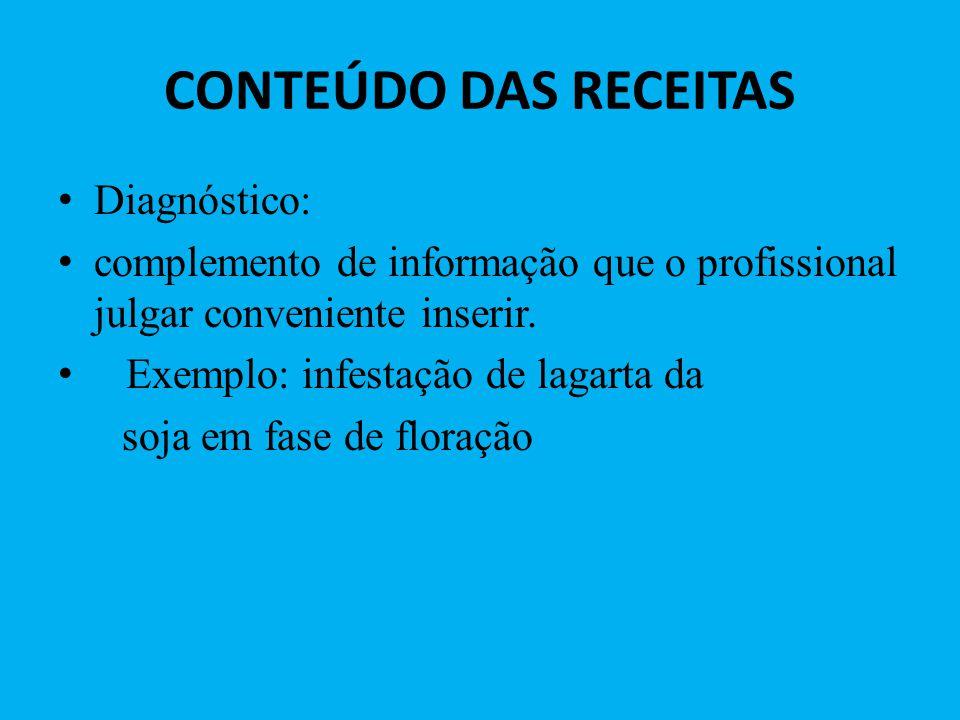 CONTEÚDO DAS RECEITAS Diagnóstico: